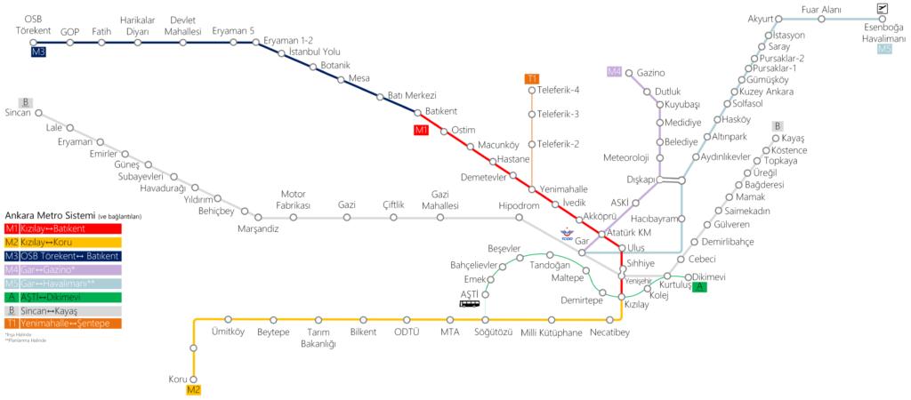 Схема метро Анкары